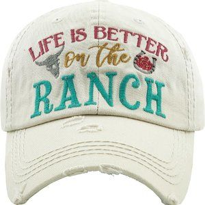 LIFE IS BETTER ON THE RANCH Washed Vintage Ballcap